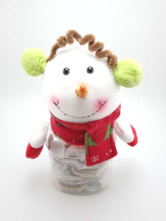 Snowman hand made display doll decor during christmas holiday Stock Photo