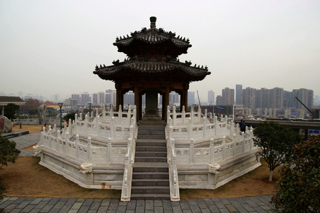feudal: The feudal pavilion,ChuWangtai Heritage Park,Wuhan City Stock Photo
