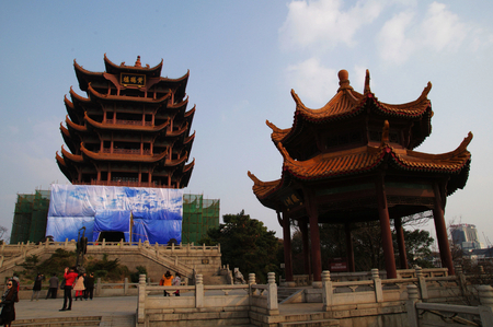 hubei province: Yellow Crane Tower,one of the three famous towers in China, Wuhan, Hubei Province