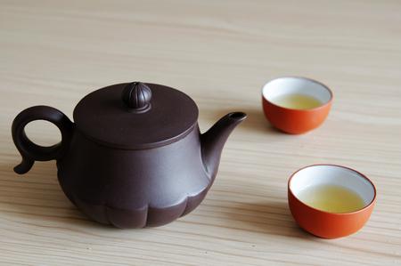 stoneware: teapot and teacups