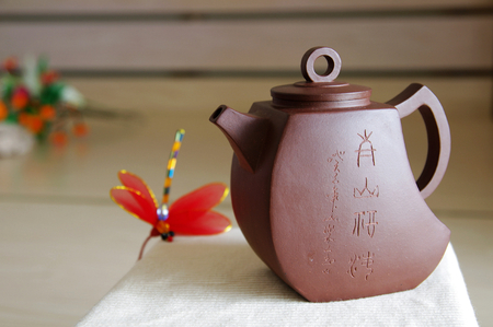 stoneware: Teapot like a sail,made of Yixing red stoneware Editorial