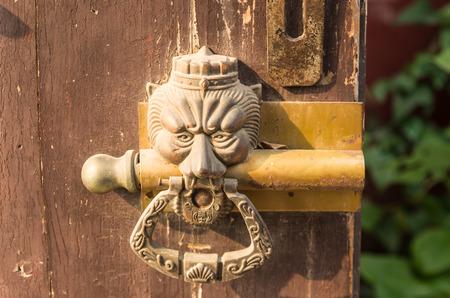 mottled: door knocker  on a mottled door