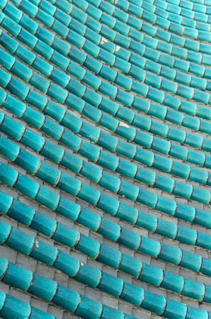 vitreous: green vitreous tiles on the roof of ancient Chinese building