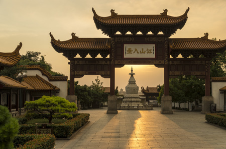 nightfall: ancient Chinese archway by nightfall