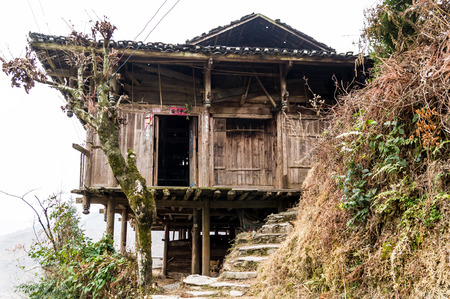 stilted: stilted buildinga sort of wooden cabin in Guangxi, China
