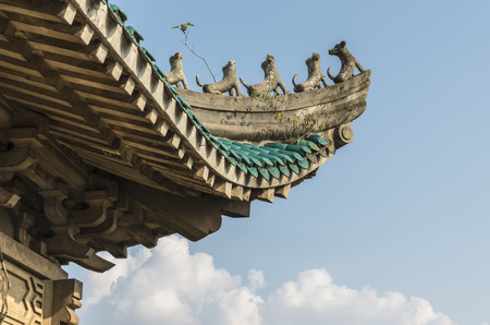hubei province: the fly-eaves of ancient building