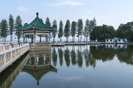 view of the east lake, Wuhan city, China photo