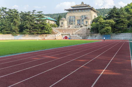 olympic stadium: Olympic Stadium of Wuhan University and the old building, Hubei Province, China