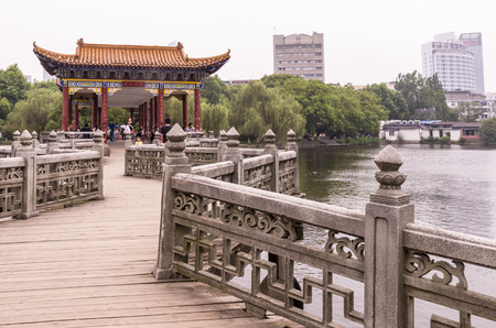 city park pavilion: Scenery view with pavilion on the lake Editorial