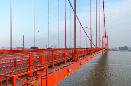 wuhan: Suspension Bridge in Wuhan Stock Photo