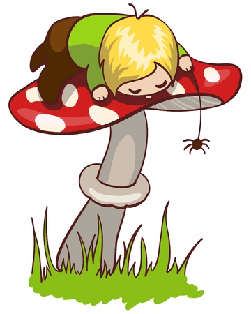 Vector illustration of a little boy on mushroom Stock Vector - 9589261