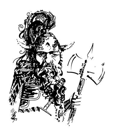 Vector illustration of a dwarf warrior