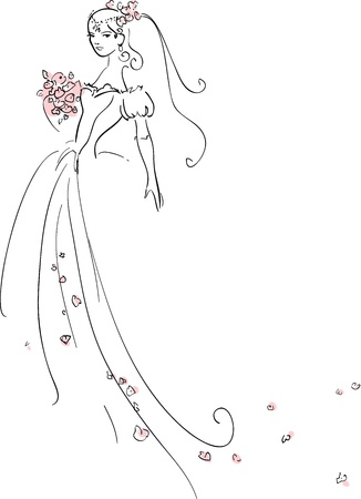 bridal veil: illustration of Beautiful Bride Illustration