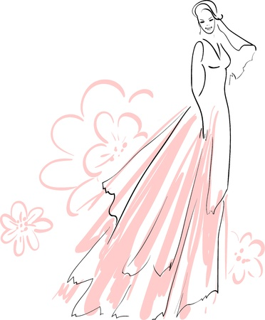 fiancee:  illustration of Beautiful Bride Smiling Illustration