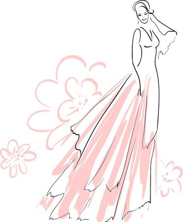 결혼식:  illustration of Beautiful Bride Smiling 일러스트