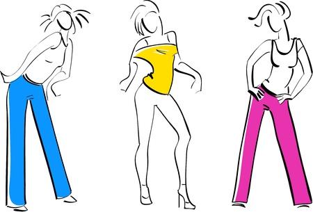 illustration of Three Girls dancing Stock Vector - 9931231