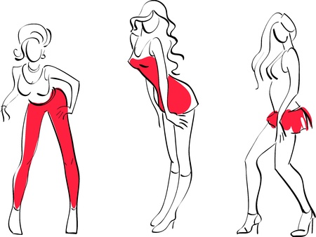 illustration of Three sexy girls Illustration
