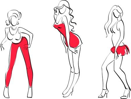 illustration of Three sexy girls Illustration