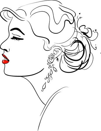Vector illustration of Girl Profile Stock Vector - 9931235