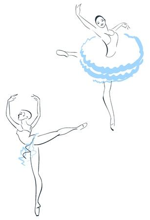 ballet dancer: Illustration of Two ballerinas