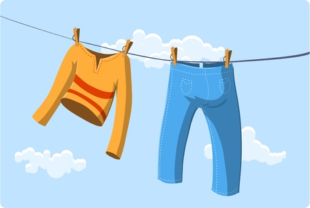 clothes line: Illustration of clothes drying