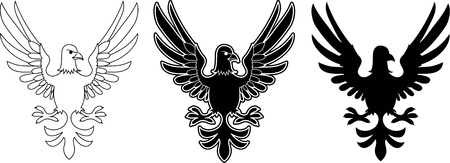 Three variants of eagle emblems Vector