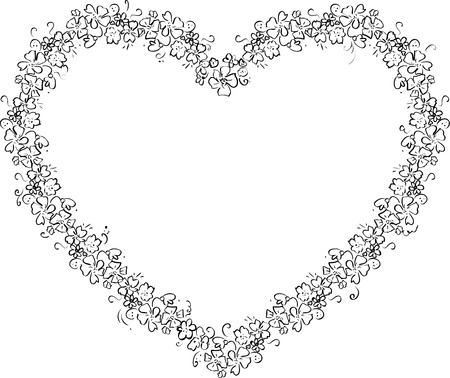 Vector Illustration of a Heart of Flowers