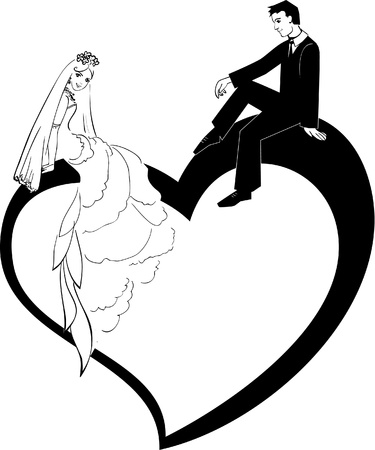 kiss couple: Illustration of Wedding Couple