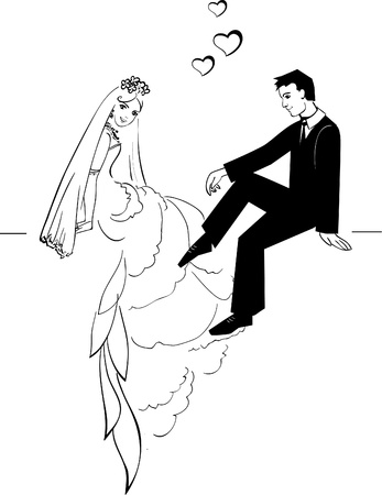 outline wedding: Illustration of Wedding Couple