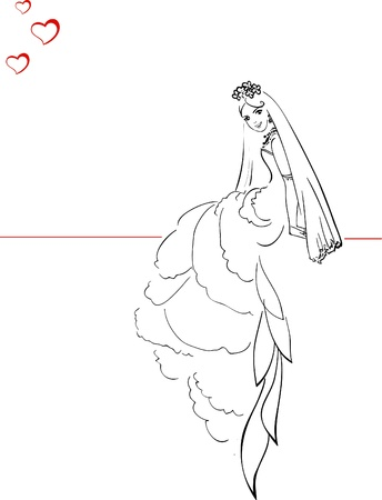 outline women: Illustration of Beautiful Bride with Hearts