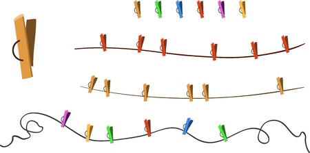 laundry line: Illustration of Clothes-pegs