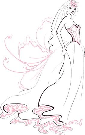 bride silhouette: Illustration of a Bride Illustration