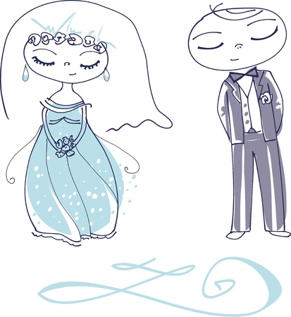 blue hair: Illustration of a Cute Wedding