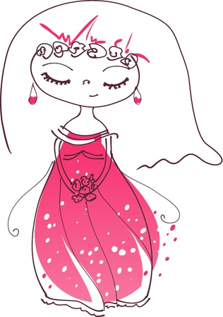 illustration of a cute bride