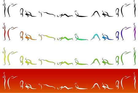 bilinçli: Illustration of Yoga Surya Namaskara
