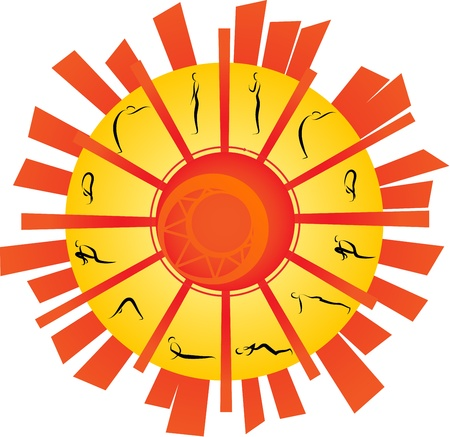 Illustration of Yoga Surya Namaskara Vector