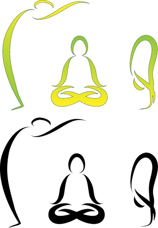 yoga class: Illustration of Yoga Asanas