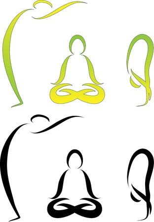 saludable logo: Ilustraci�n de las asanas del yoga
