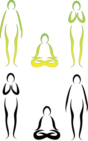 asanas: Illustration of Yoga Asanas