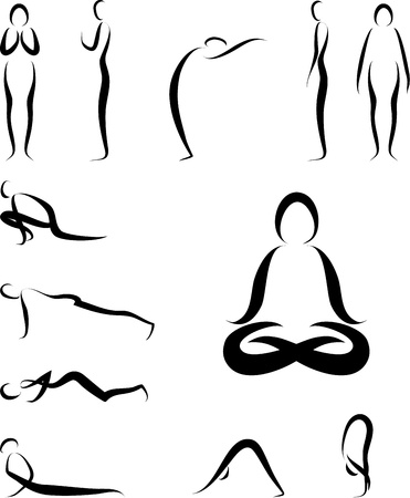 Illustration of Yoga Asanas Vector