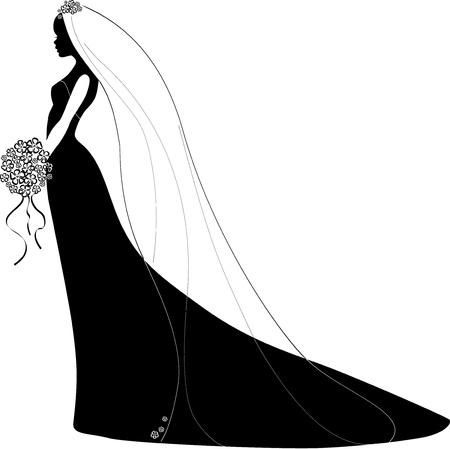 silhouette of bride: Vector Illustration of a Bride