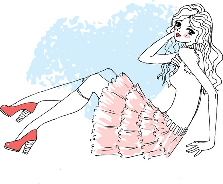 fashion girl style: Vector illustration of a girl