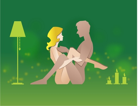 Vector illustration of couple in sex pose Illustration