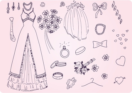 girls with bows: Vector Sketchy Wedding Set Illustration