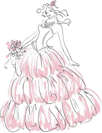 bride groom silhouette: Vector illustration of beautiful bride