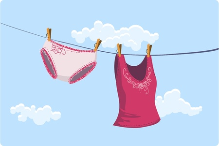Vector illustration of Girly clothes drying