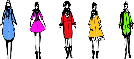Sketchy fashion girls Vector