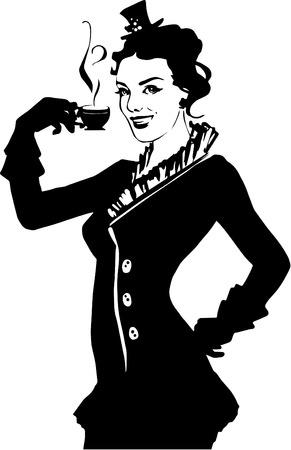 woman drinking tea: Illustration of retro girl with coffee