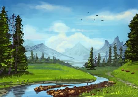 coniferous forest: Landscape illustration Stock Photo