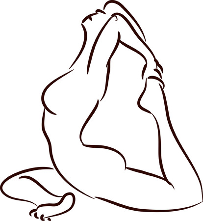 yoga class: Illustration of pigeon pose